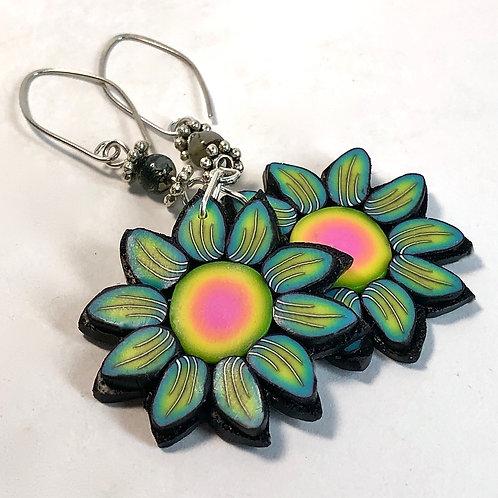 Flower Power Earrings - Grass/Sunset