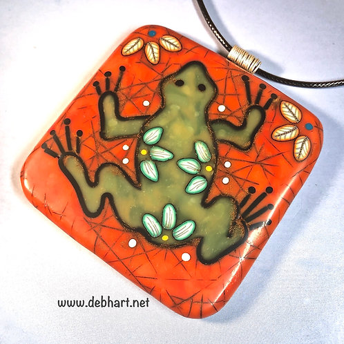 Tree Frog Pendant - Red Coral Background