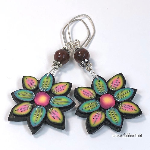 Flower Power Earrings - Multipetal Grass/Sunset