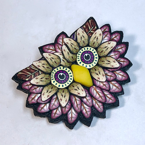 Owl Pin - merlot/khaki
