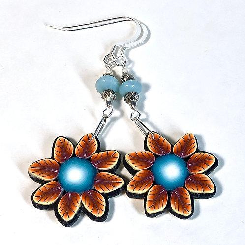Flower Power Earrings - Teal/Orange
