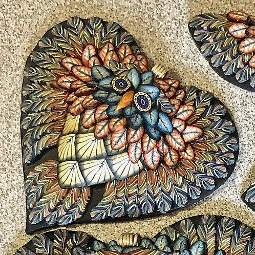Medium Owl Heart Pendant - Country Blue/Orange