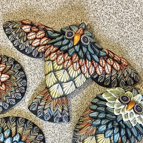 Flying Owl Pendant - Country Blue/Orange