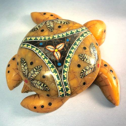 Medium Amber/Black Marble Mandala Sea Turtle Box