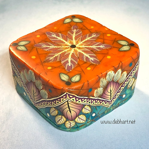 Square Red Coral/Turquoise Art Box