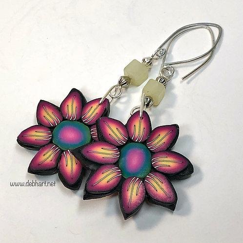 Flower Power Earrings - Fire/Midnight