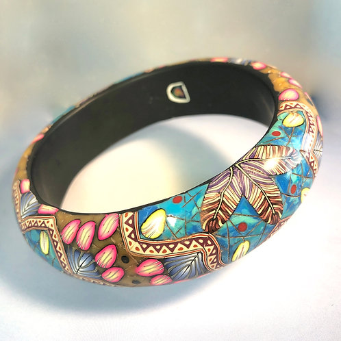 Amber/Turquoise Mandala Bangle