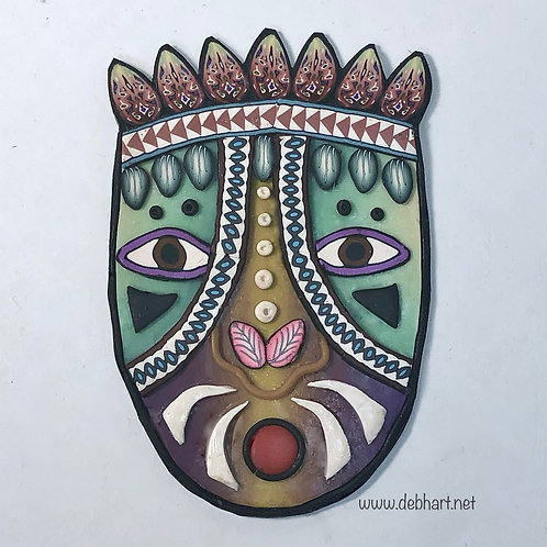 Tribal Mask pin - gold/green