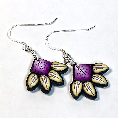 Squash Blossom Earrings - Purple/Yellow Style 3
