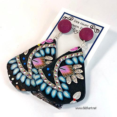 Paisley Slab Earrings - Large Teardrop