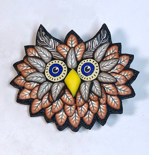 Owl Pin - orange/tan