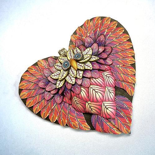 Medium Owl Heart Pendant - Khaki/Pink/Purple