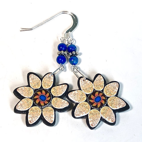 Flower Power Earrings - Floral/Peach