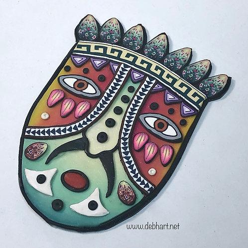 Tribal Mask pin - orange/green