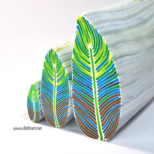 Yellow/Turquoise/Caramel Feather Cane
