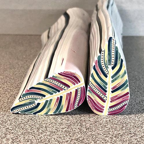Deep Teal/Khaki/Merlot Embellished Feather Cane