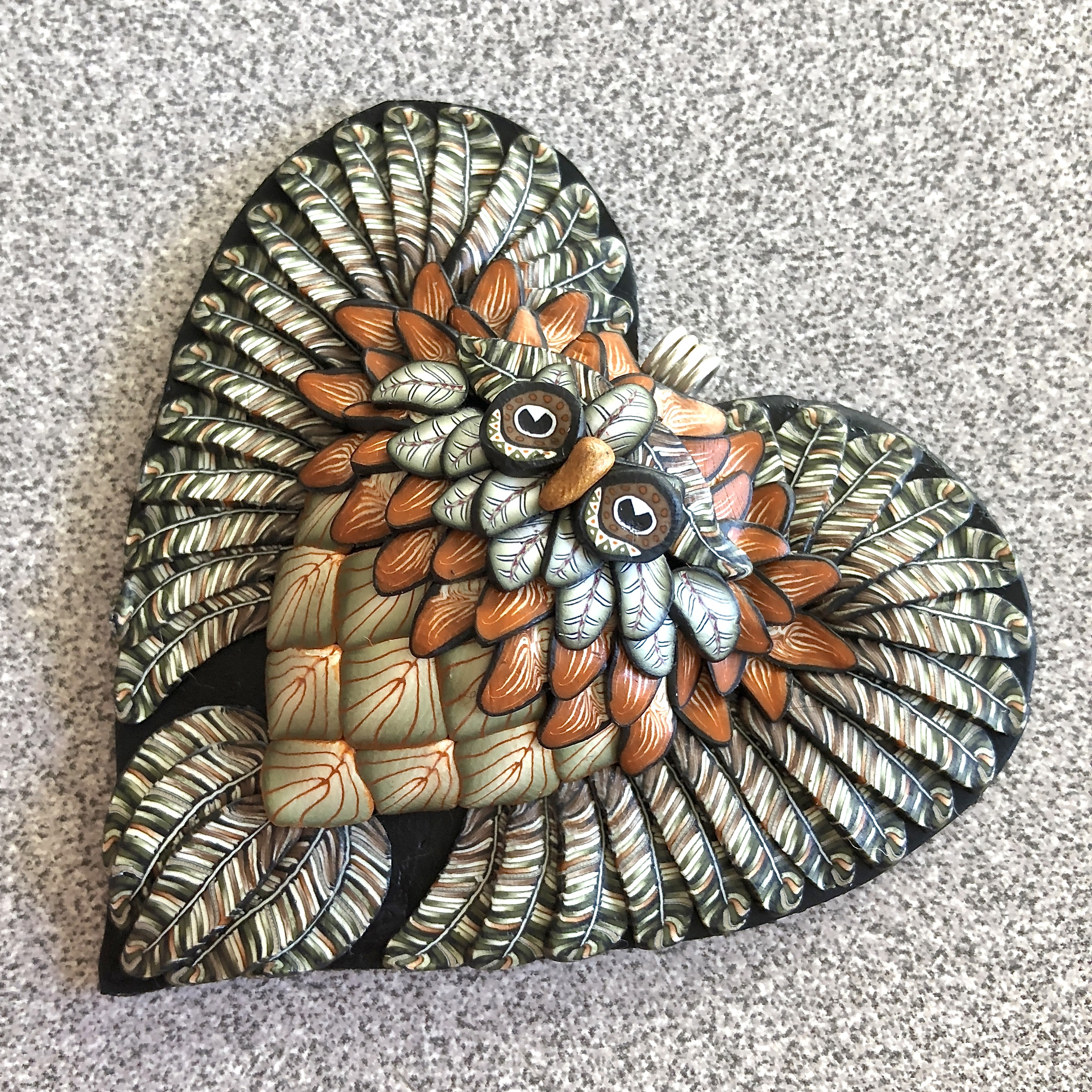 Sage/Burnt Orange Heart Owl