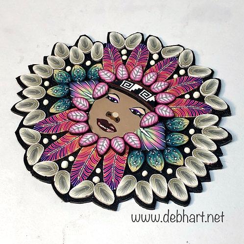 Small Nature Goddess pin/pendant - pink/teal