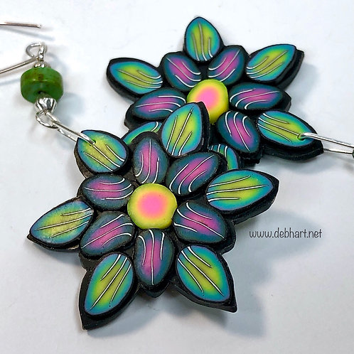 Flower Power Earrings - Multipetal Grass/Midnight