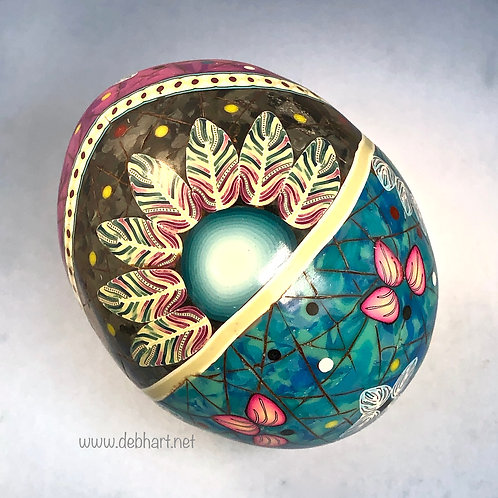 Turquoise/Black Marble/Sodalite Feather Sun Easter Egg