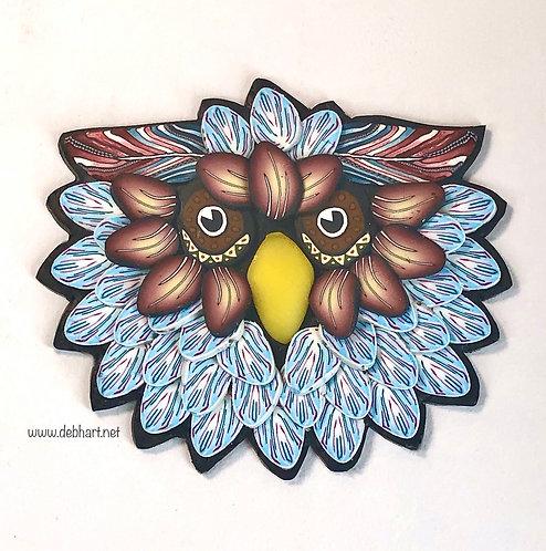 Owl Pin - Lt Blue/Rust