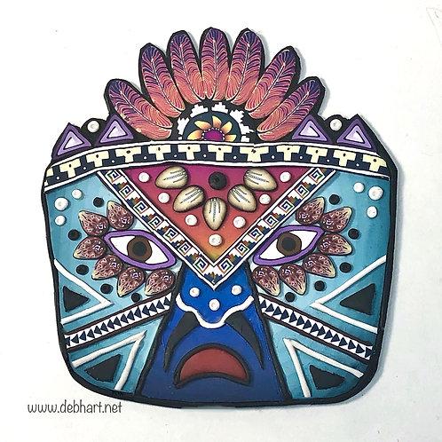 Tribal Mask pin - blue/orange
