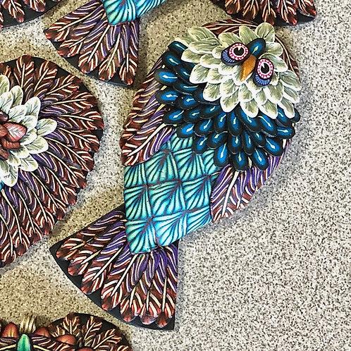 Sitting Owl Pendant - Purple/Red/Teal