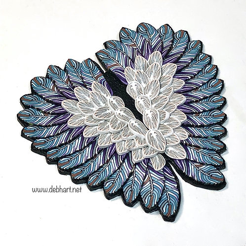 Angel Wing pin - blue/white