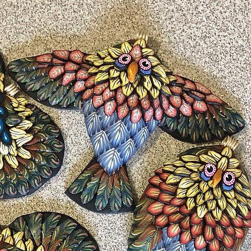 Flying Owl Pendant - Blue/Red/Mustard