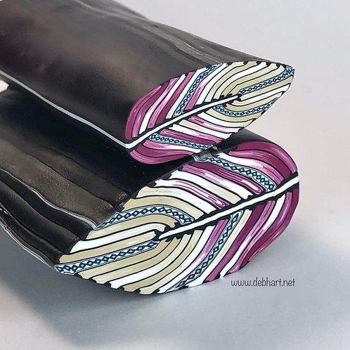 Rose/White/Khaki Embellished Feather Cane
