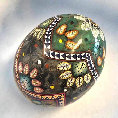 Jade/Black Marble/Amber ZigZag Easter Egg