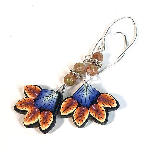 Squash Blossom Earrings - Blue/Orange Style 2