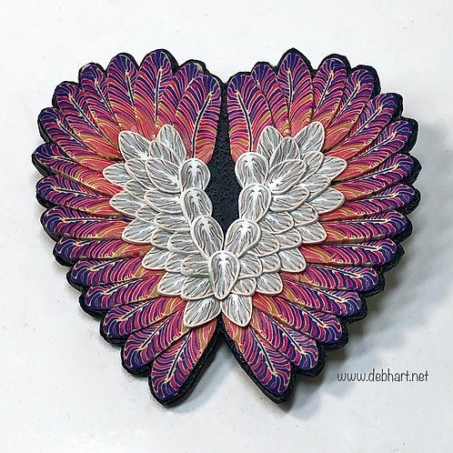 Angel Wing pin -pink/white