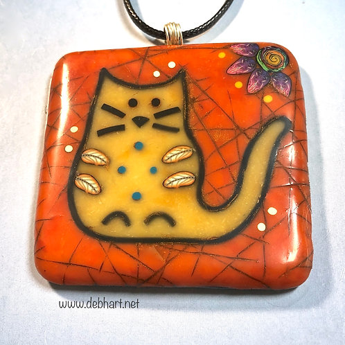 Small Kitty Petroglyph Pendant - Red Coral Background