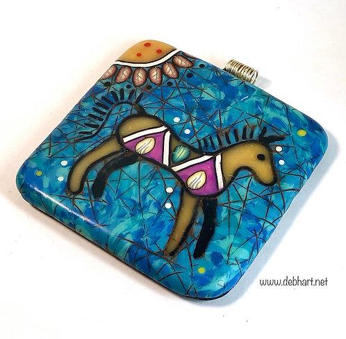 Horse Petroglyph Pendant - Turquoise