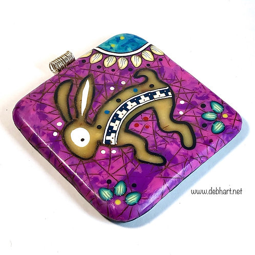 Rabbit Petroglyph Pendant - purple