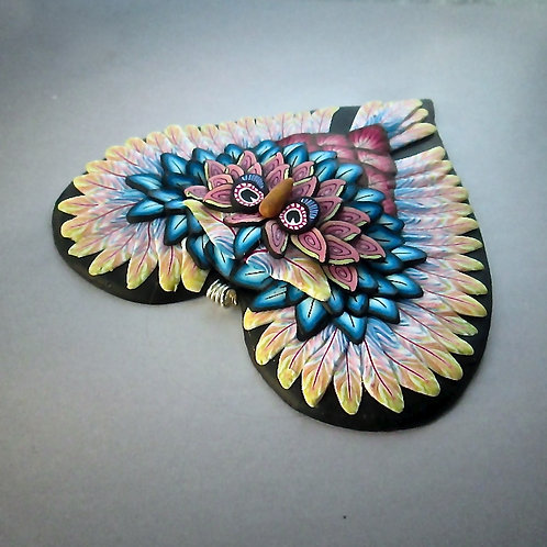 Large Owl Heart Pendant - Yellow/Blue/Pink