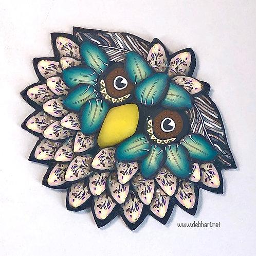 Owl Pin - Khaki/Green