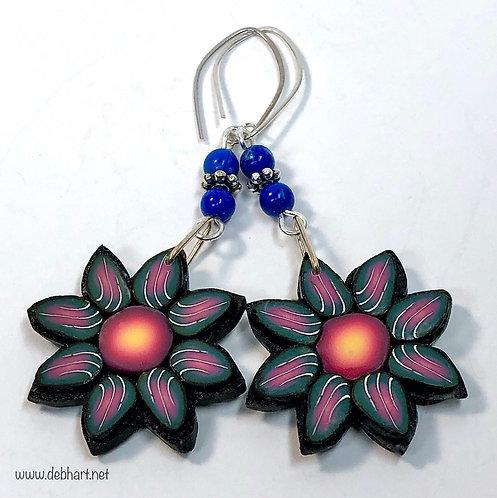 Flower Power Earrings - Midnight/Fire