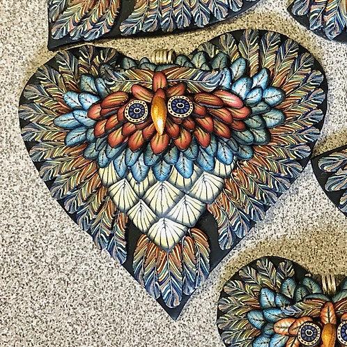 Large Owl Heart Pendant - Country Blue/Orange