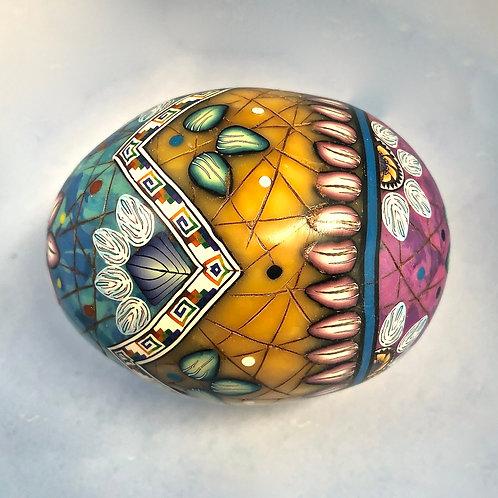 Turquoise/Amber/Sodalite Stripe & ZigZag Easter Egg
