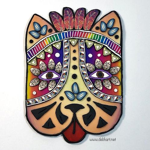 Tribal Dog pin - orange/pink