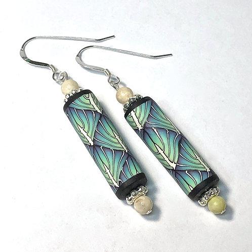 Art Deco Tube Earrings - Turquoise/Purple style 3