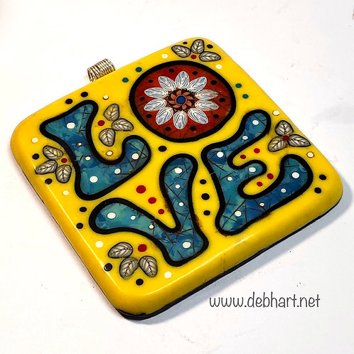 LOVE pendant - yellow