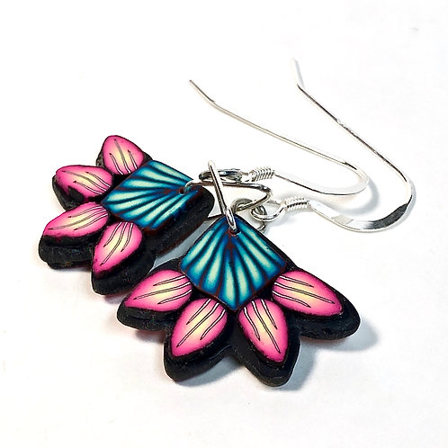 Squash Blossom Earrings - Teal/Pink Style 3