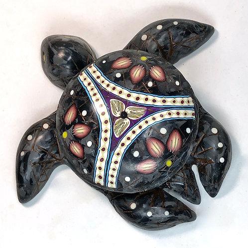Medium Black Marble/Sodalite Mandala Sea Turtle Box