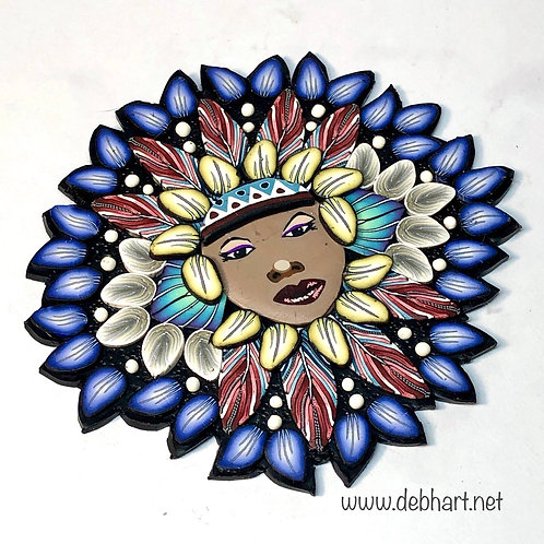 Small Nature Goddess pin/pendant - blue/white