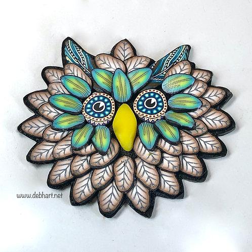 Owl Pin - Brown/Grass