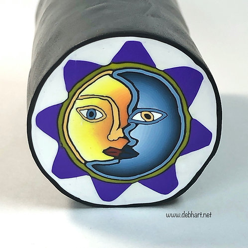 Sun/Moon cane - yellow/blue w/purple border