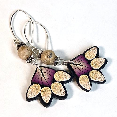 Squash Blossom Earrings - Purple/Peach Style 2